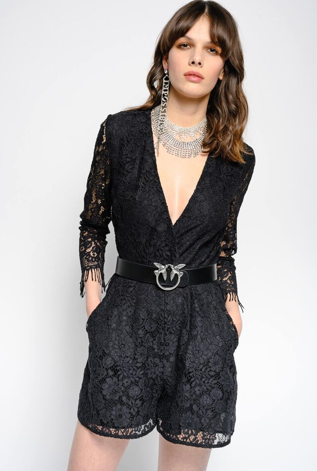Short rebrodé lace jumpsuit with fringes