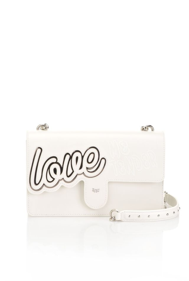 "Love Bag ""Love Love"" in pelle con intarsio"
