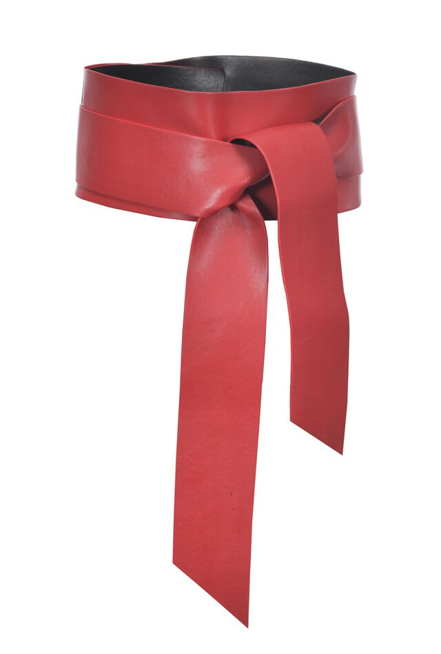 Two-colour faux leather sash