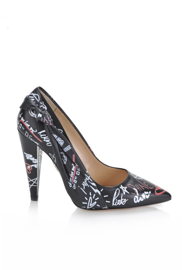 Printed nappa leather pumps