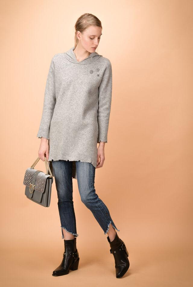 Hooded maxi wool sweatshirt with pins