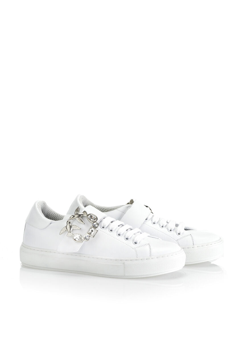 Calfskin sneakers with bejewelled buckle