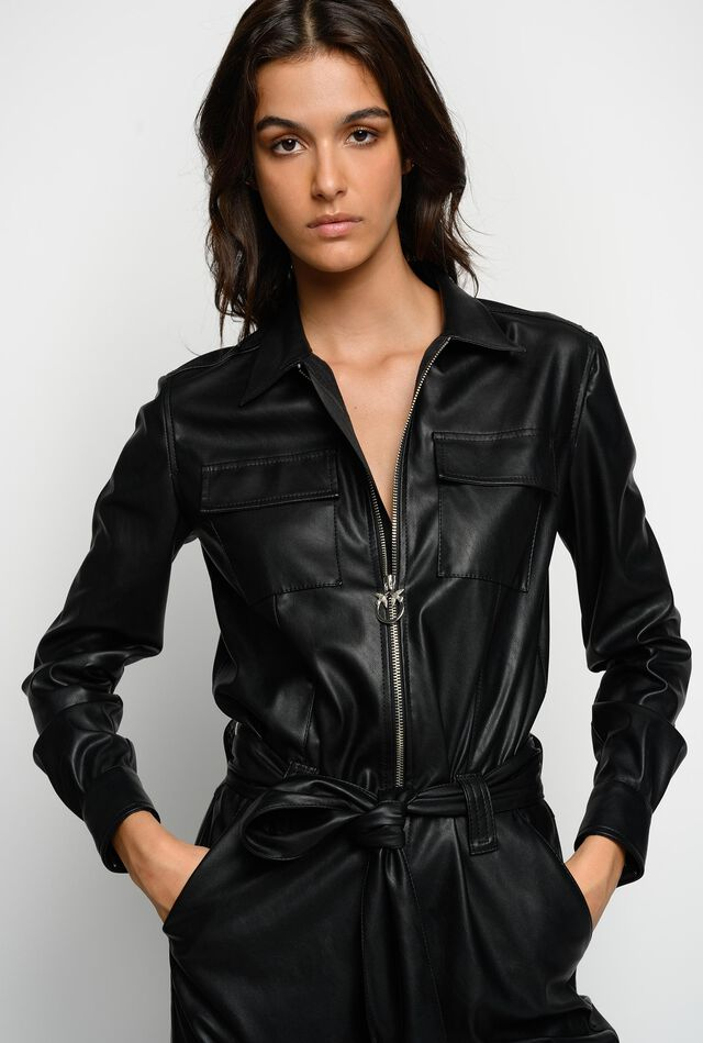 Leather-look jumpsuit