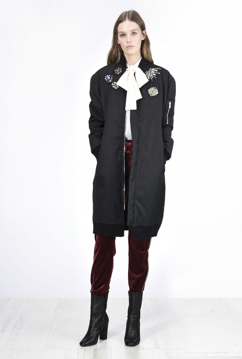 Longline nylon bomber jacket