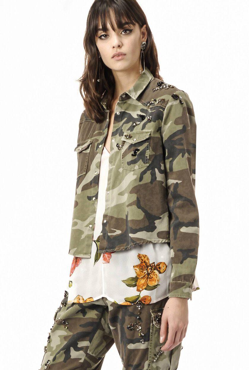 Camouflage shirt with rhinestones