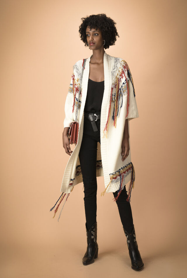 Maxi jacquard cardigan with ethnic embellishments