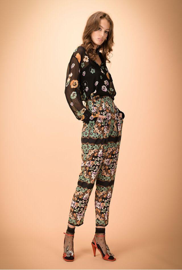 Pantalones de crêpe de chine estampado