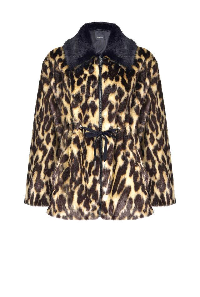 Leopard print faux fur parka