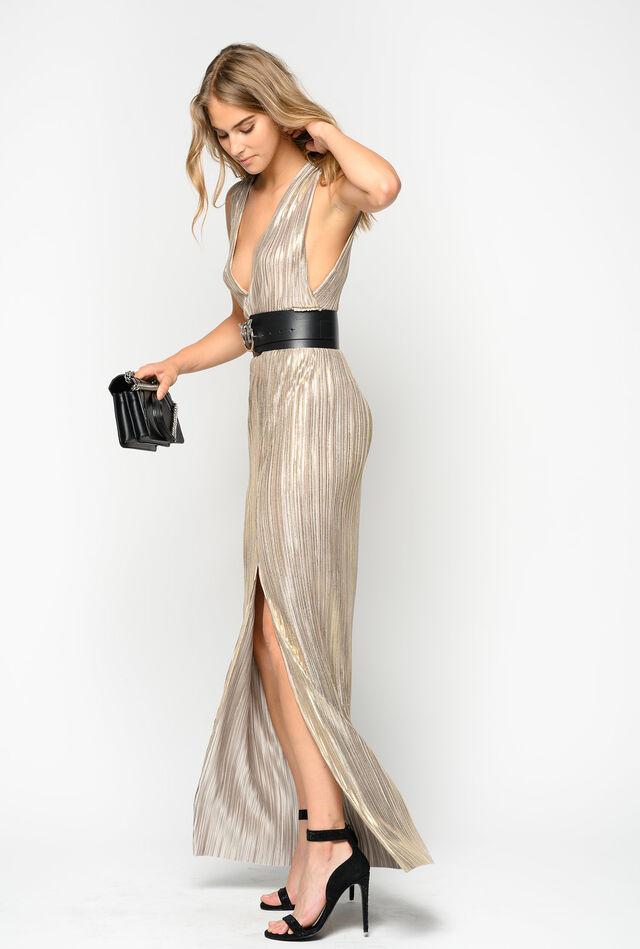 Vestido largo de punto plisado laminado