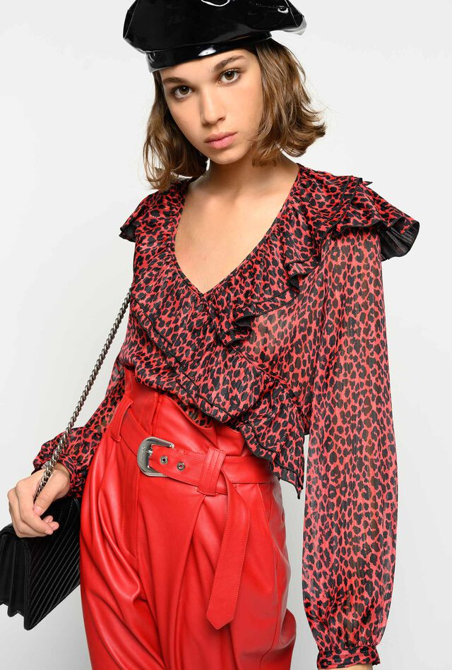 Red animal pattern bodysuit