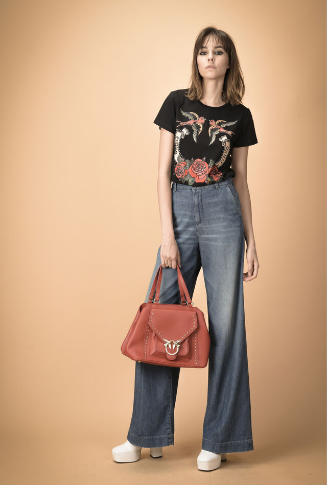 Flared trousers in comfort denim