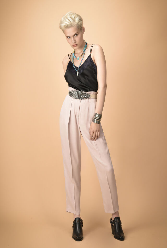 Micro sablé trousers with belt