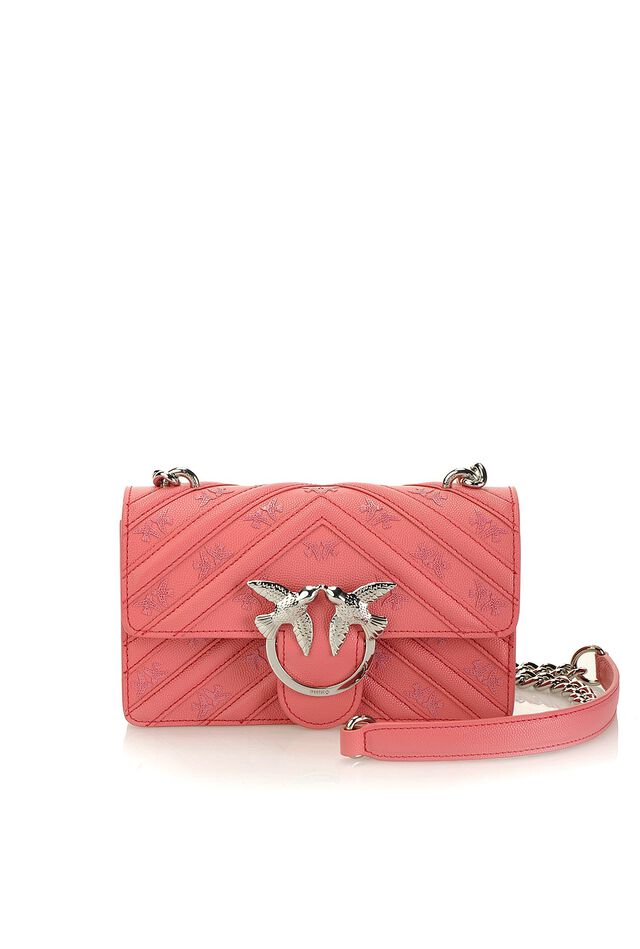 Mini Love Bag Caviar Monogram in pelle con stampa Love Birds