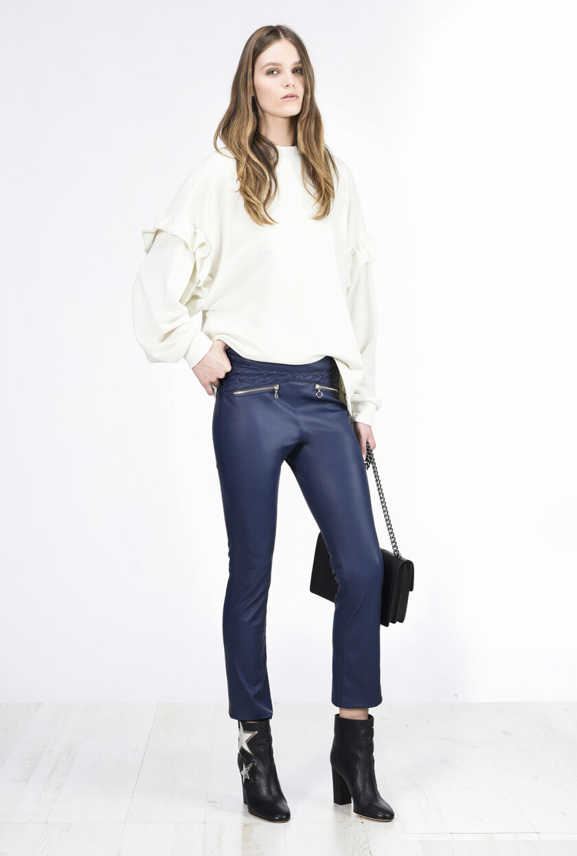 Pantalone in finta pelle stretch