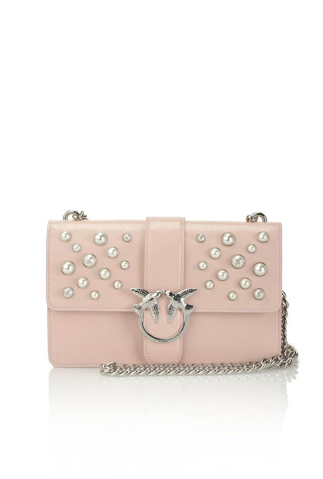 Leather Love Bag with pearls and bejewelled buckle