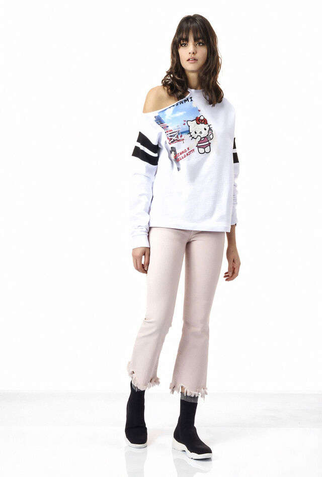 Printed long sleeve fleece sweatshirt