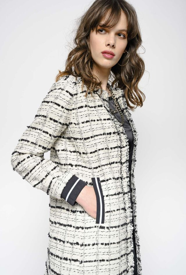 Lightweight check hopsack coat