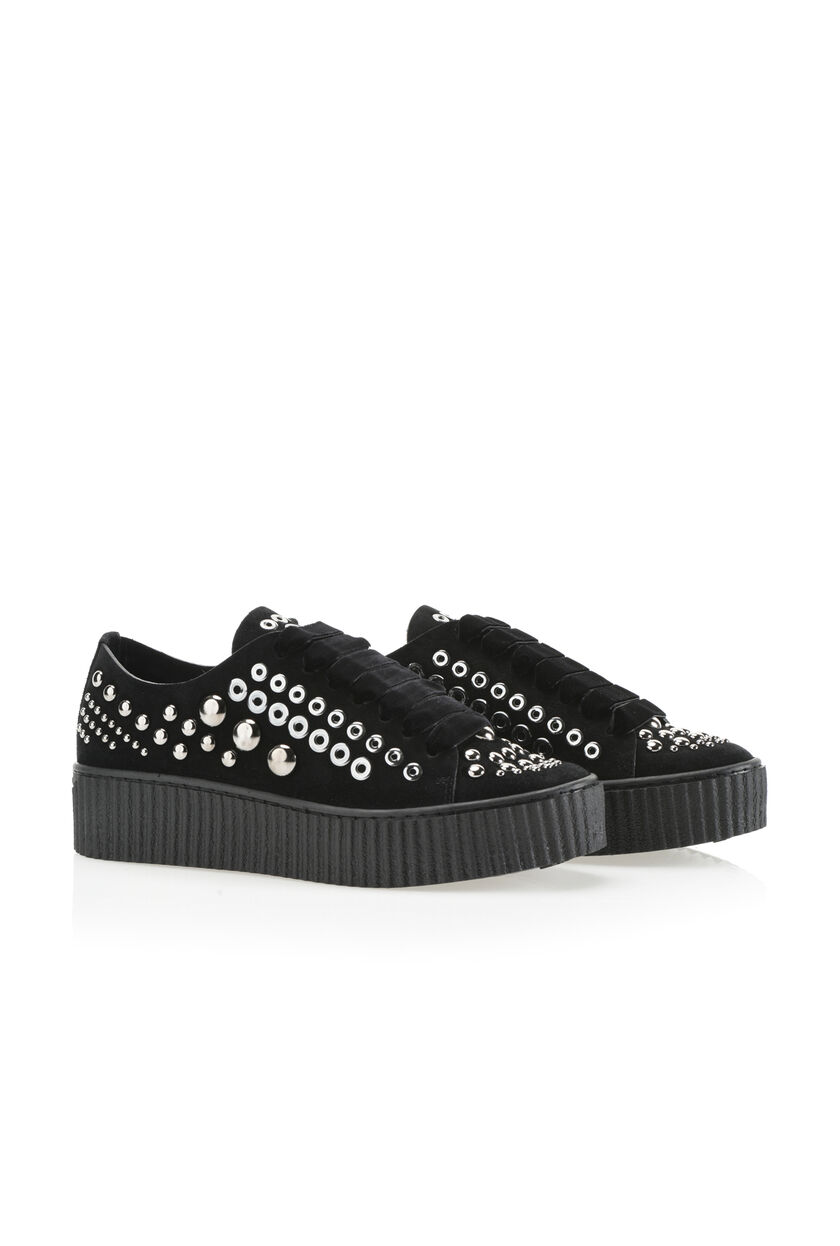 Suede sneakers with studs and eyelets