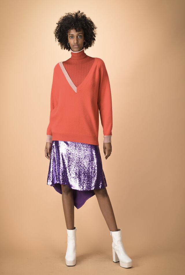 Двухцветный кашемировый пуловер с V-образным вырезом