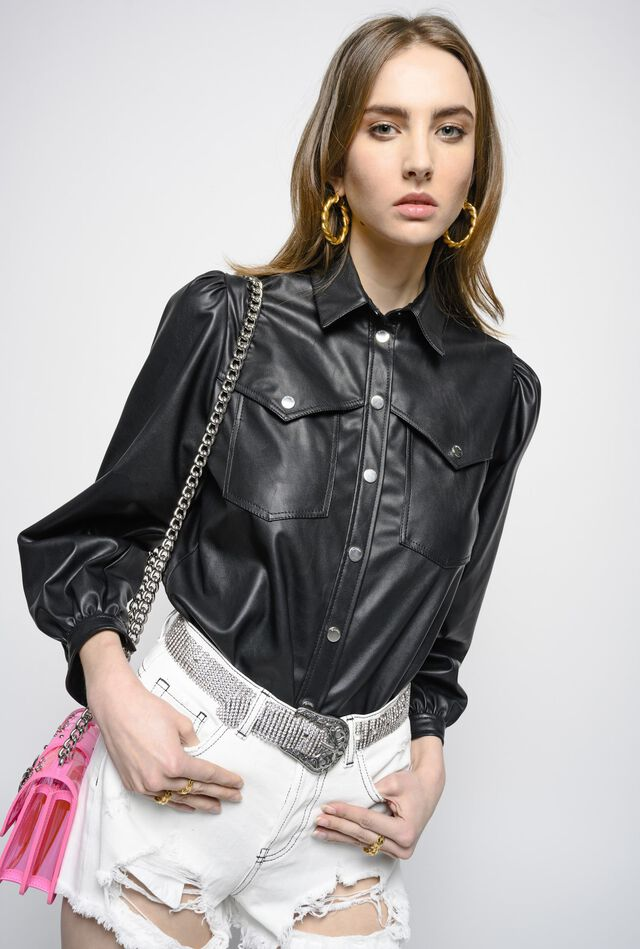 Shirt in leather-look fabric
