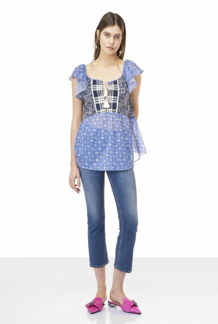 Patchwork blouse in cotton muslin