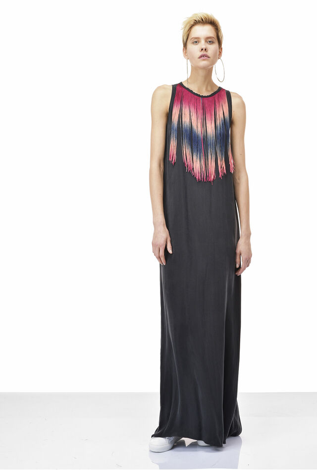 Twill maxi dress with fringes