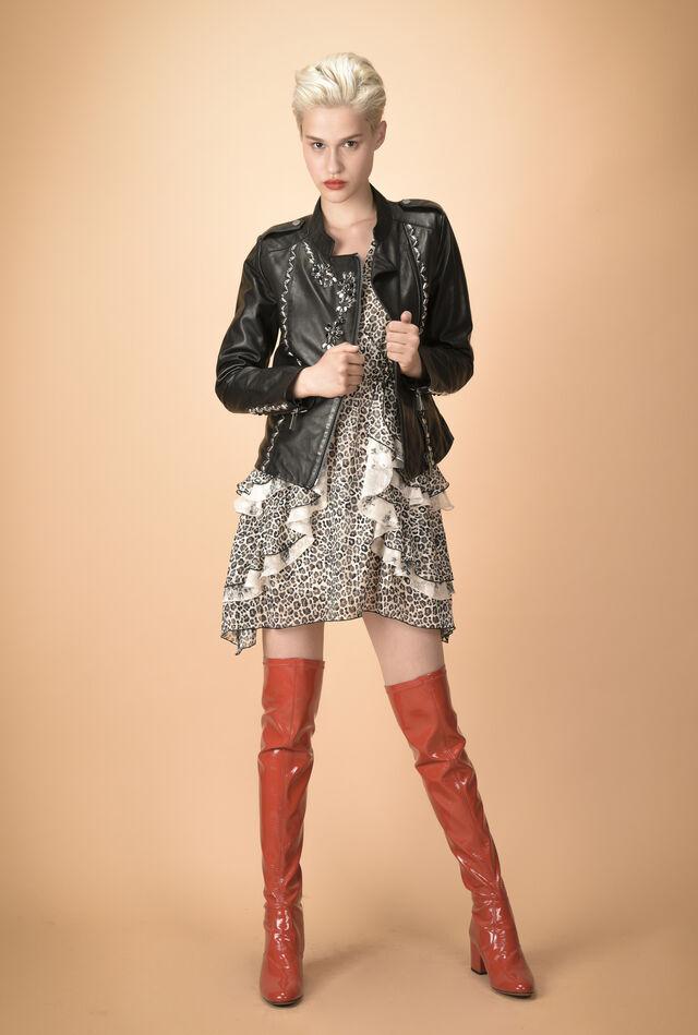 Leather jacket with rhinestone decorations