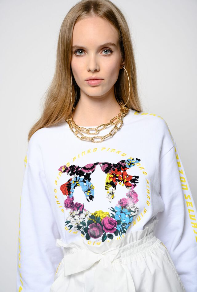 Cropped floral Love Birds sweatshirt