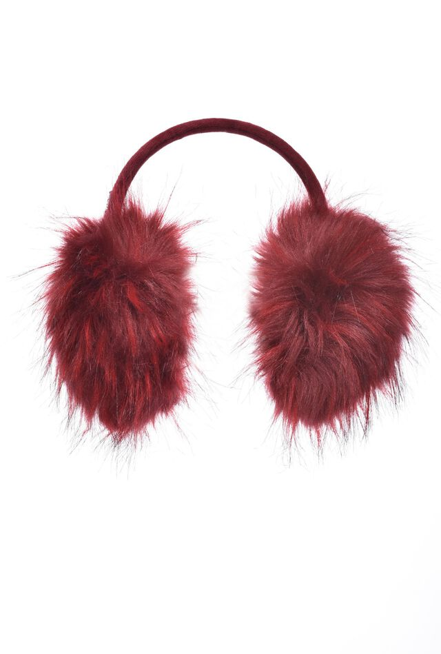 Knitted earmuffs with faux fur