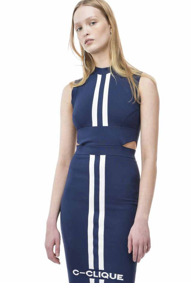Tricot dress in compact fabric