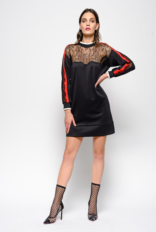 Technical interlock and lace dress