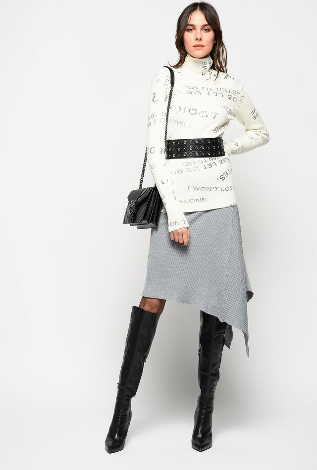 Midi-length knitted skirt