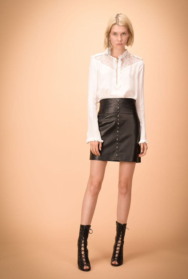 Leather miniskirt with studs