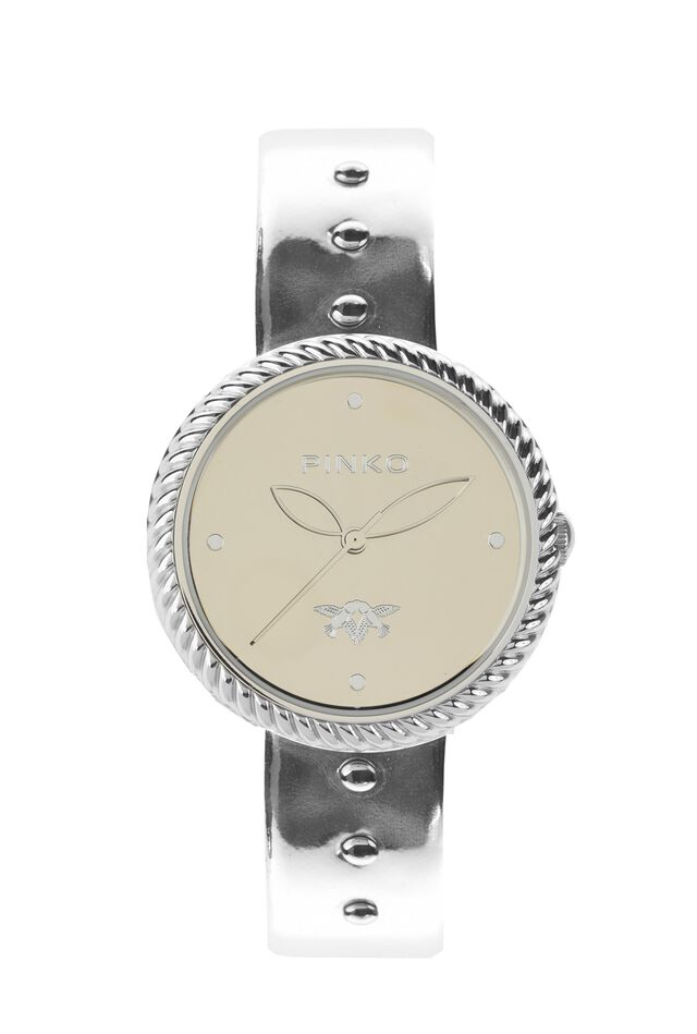 Silvery chrome leather watch