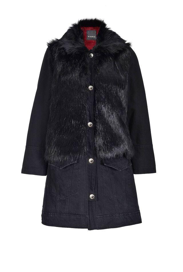 Cappotto in denim e faux fur