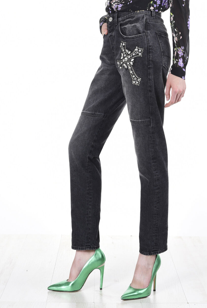 Pantalone in tessuto denim black