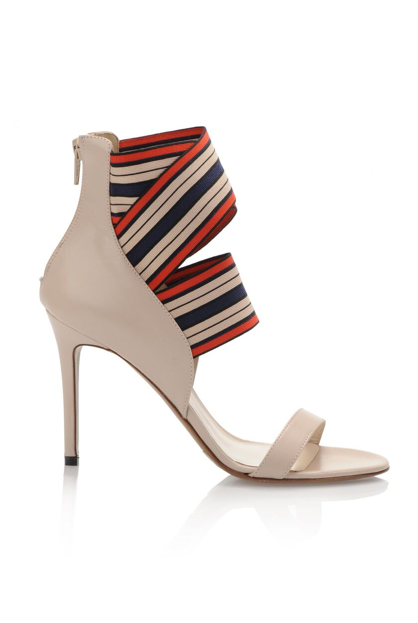 Calfskin sandals with ribbon at the ankle
