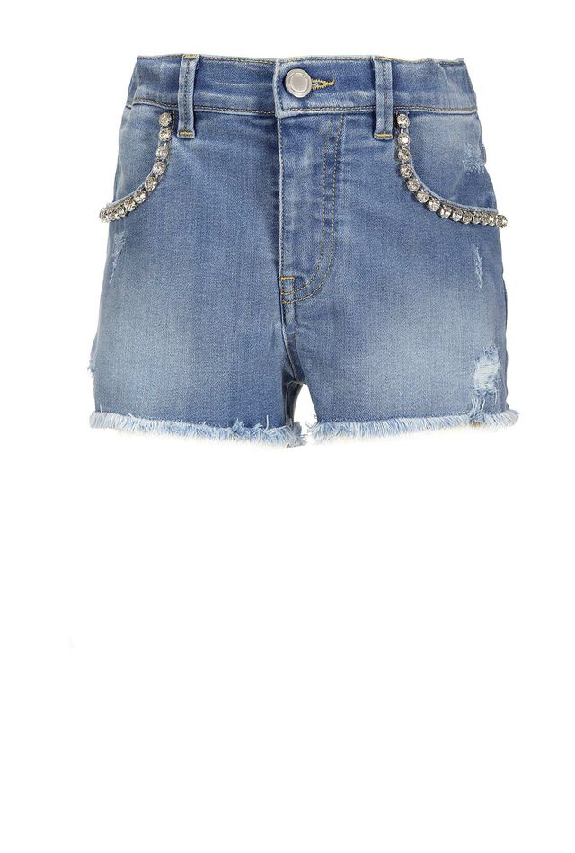 Shorts in soft denim con strass