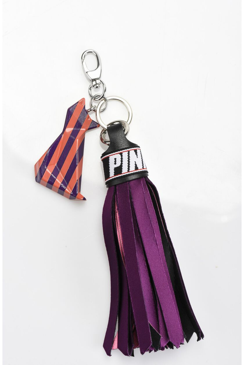Tassel keyring in satin with feline in pressed and laser-cut resin