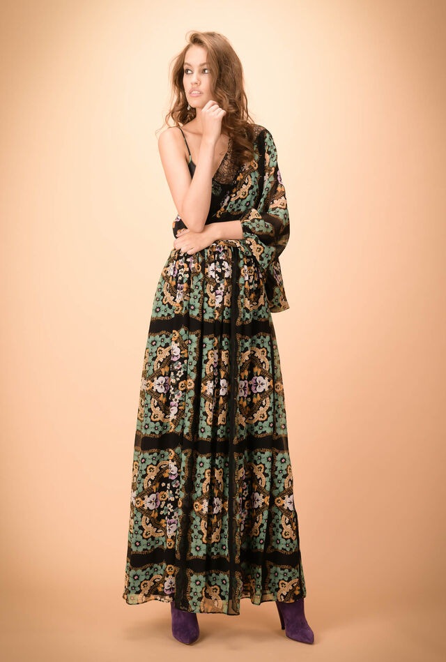 Single-shoulder creponne dress with scarf print