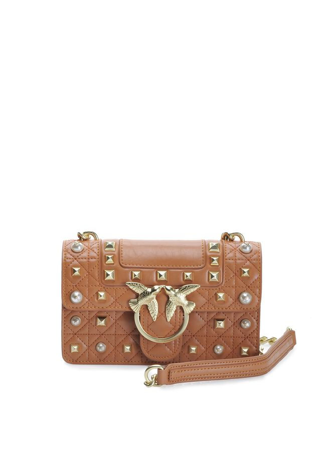 Mini Love Bag Idillio in pelle con borchie e perle
