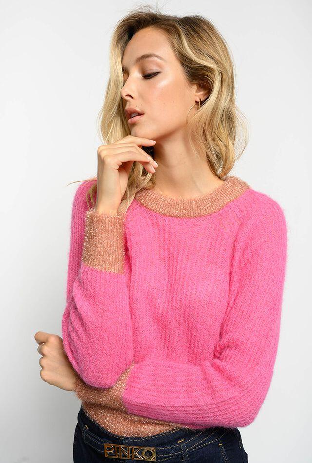 Pullover cropped in misto alpaca e lurex