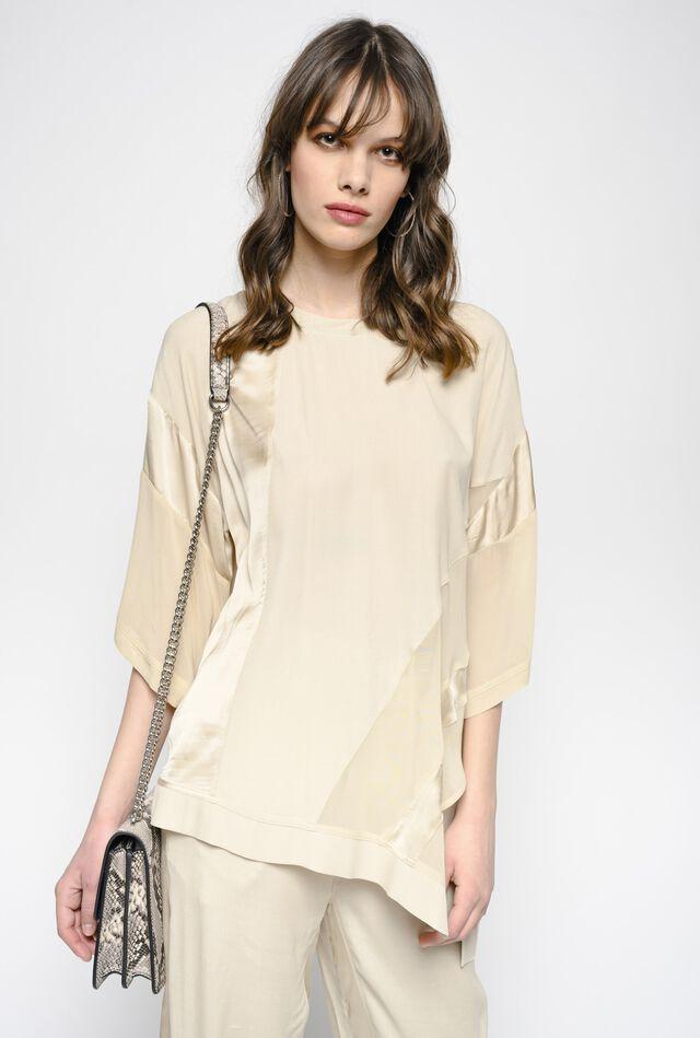Blusa asimmetrica in twill marocaine