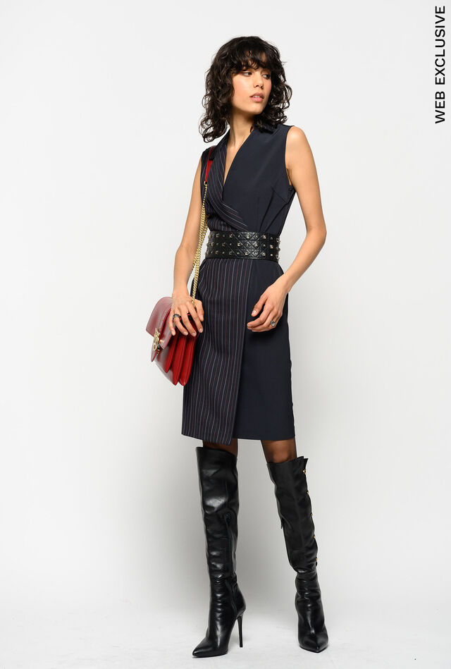 Belted pinstripe dress