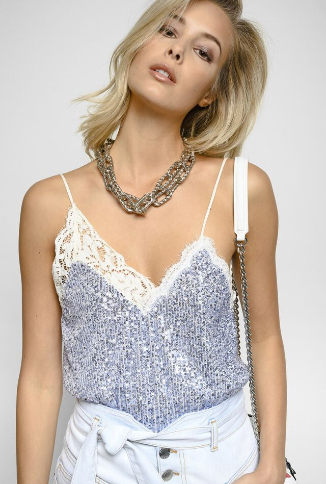 Top lingerie in micro paillettes