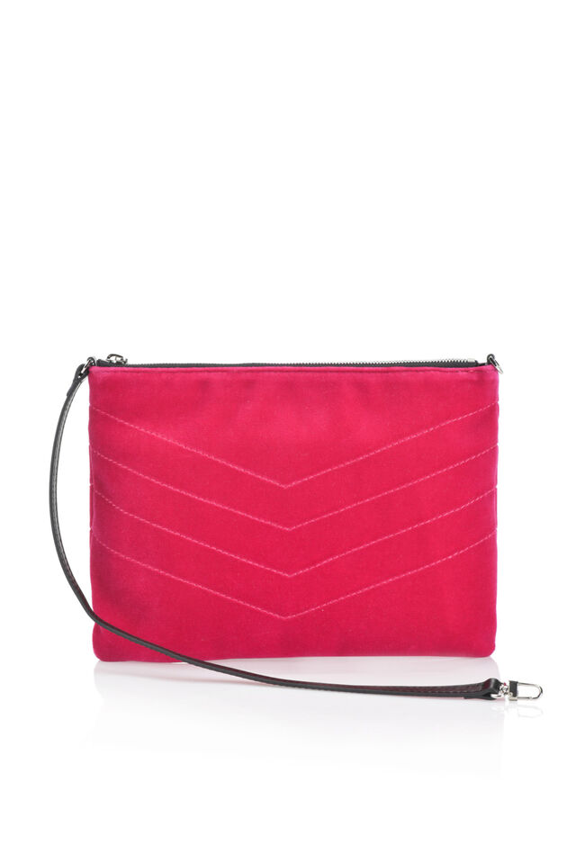 Quilted velvet pouch bag with narrow shoulder strap