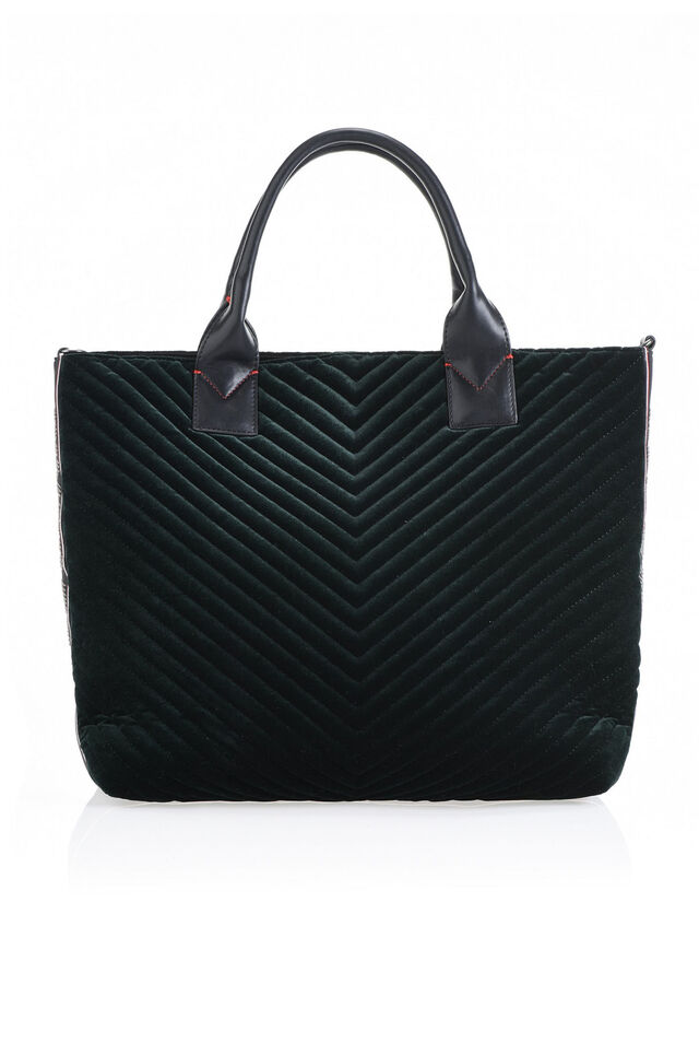 Maxi shopping bag in velluto chevron