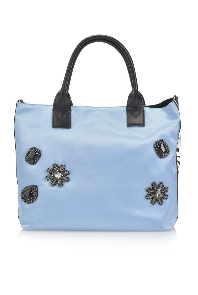 Satin backpack with jewel appliqués