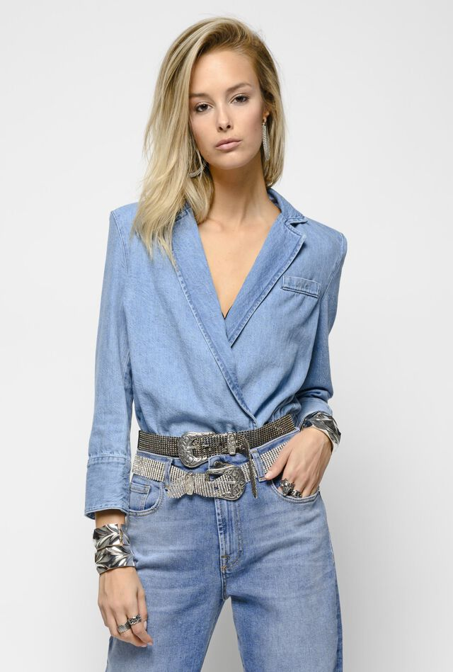 Denim bodysuit jacket