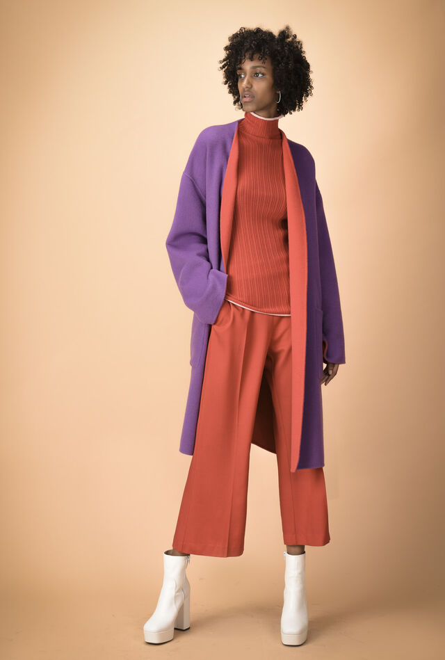 Belted double layer Melton coat